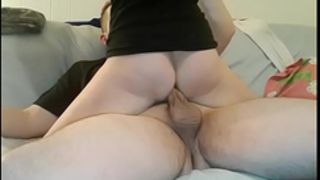 Amateur girlfriend in socks fuck hard on the bed and receive massive creampie