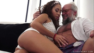 Young latin babe on much aged penis