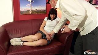 Brunette affraid of cum when drilled hard on fake photo casting