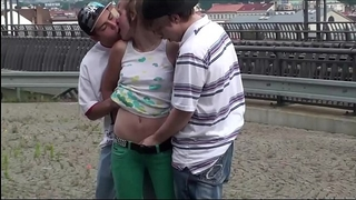 Alexis crystal facial cum at a public teach station in trio with two legal age teenager chap