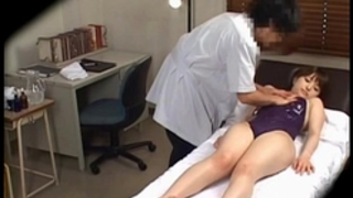 Japanese in swim dress acquires love melons massaged