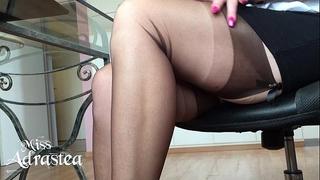 Miss adrastea nylonfeet below table