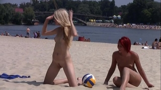 This legal age teenager nudist disrobes in nature's garb at a public beach