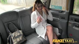 Faketaxi hawt housewife in fishnet underware