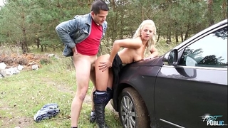 Myfirstpublic youthful nathaly cherie stops the car and bonks her man