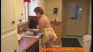 Granny whore drilled in her kitchen by bbc