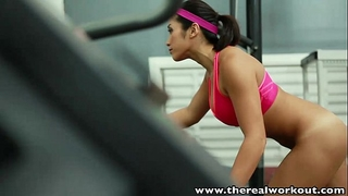 Therealworkout breasty oriental gym chick taut muff drilled