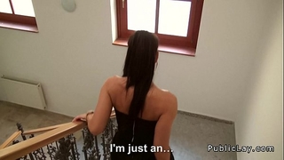 Tight czech secretary bonks pov in public