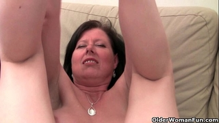 British mamma julie with her large pantoons and bushy love tunnel receives finger drilled