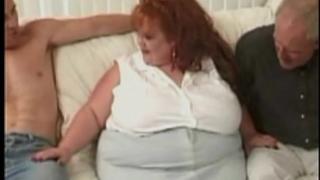 Huge bbw redhead takes on 3 giant weenies