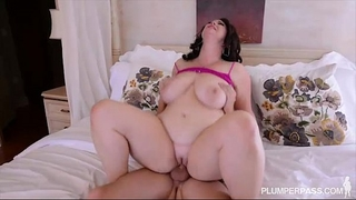 Plump large tit milf receives drilled in the butt by college man