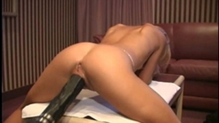Petite french golden-haired demolished by a brutal fake penis machine