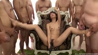 Very nice bukkake session with magnificent Asian girl