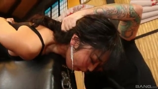 Beautiful Asian lady empties thick throbbing cock