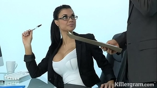 Sexy milf jasmine jae plays the office slut addicted to hard shlong