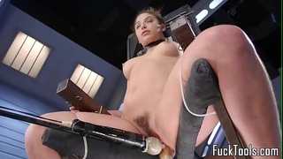 Babe restrained to chair for twat toying