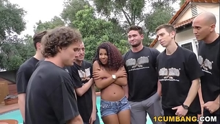 Zoey reyes gives blow job to a group of sexually excited white fellows