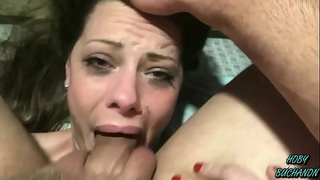 Step daughter takes a choking slapping coarse skull fuck for father's day (full shoot)