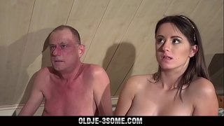 two virgins jump on grandpapa ramrod and bonks his brains out in trio sex
