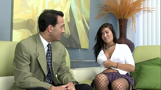 London drilled on a bed in fishnet nylons