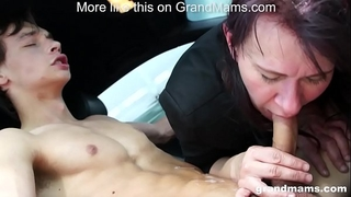 Granny vicky lewd to engulf cock in parking lot grandmams.com