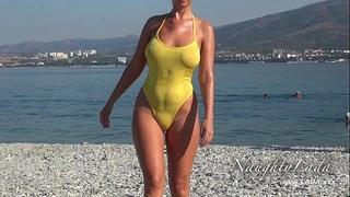 Sheer when moist swimwear and flashing