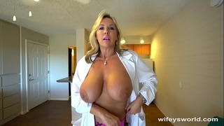 Busty sex dr finger team-fucked in advance of her cum facial