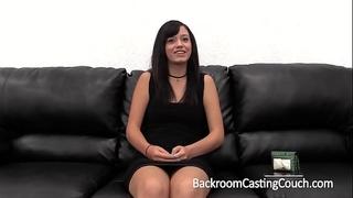 Amateur large cum facial on casting bed