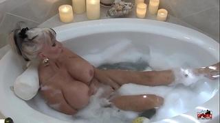 Hot milf in bubble washroom - sally d'angelo