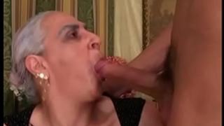 Granny sucks massive juvenile ramrod