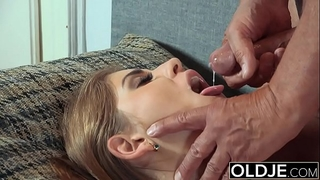 Pretty juvenile amateur wife mouthful of cum and anal sex with old man jock
