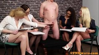 British cfnm chicks jerking their sub in group