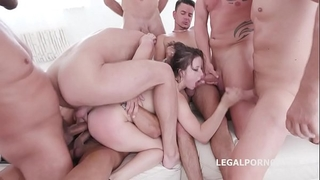 10 on 1 gang group sex for ultra bitch gabriella lati 10 swallows!