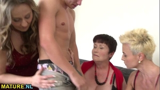 Three lusty matures sharing a hung man
