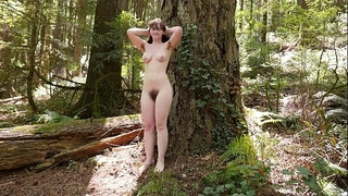 Sweet raven masturbating outdoors