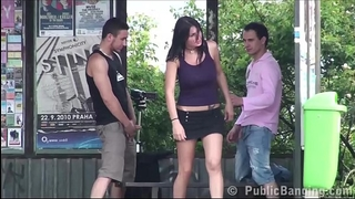 Hot basty cheating wife screwed hard on public bus stop by two studs with large ramrods