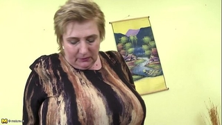 Huge titted granny playing with her bumpers and toying