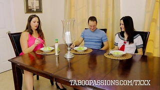 Horny whore sister addie juniper copulates brother during the time that milf watches