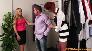 Redhead cfnm playgirl engulfing customers pecker