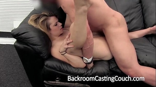 Cheater fucked into ass and creampie on casting daybed