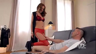 Stockings hawt in footjob a red phoenix dominica gives