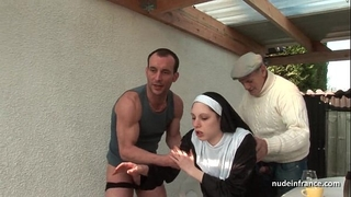 Young french nun drilled hard in trio with papy voyeur