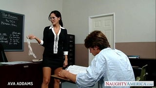 Teacher in glasses ava addams receives large scones screwed