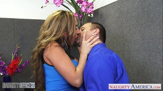 Brown haired richelle ryan acquires facialized in the office