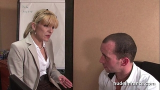 Amateur aged blond anal drilled hard at office