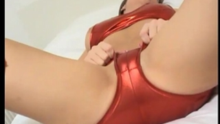 Cate teasing hard in shiny red pvc pants