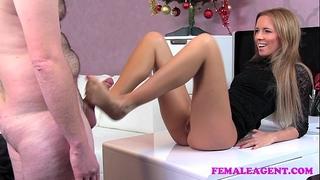 Femaleagent bad santa acquires a great casting foot job