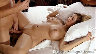 Busty coed screwed and facialed