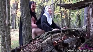 Smoking nun drilled by devil