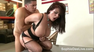Busty teacher sophie dee copulates her younger student!